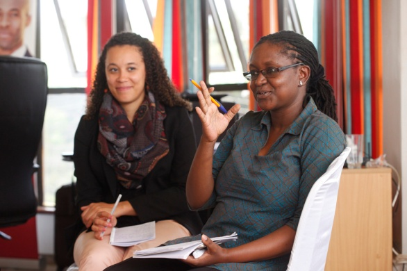 Kenya - Nairobi - Jeanne Guzman and Angela Kagame at the AMI Facilitation Masterclass led by Klara Michal