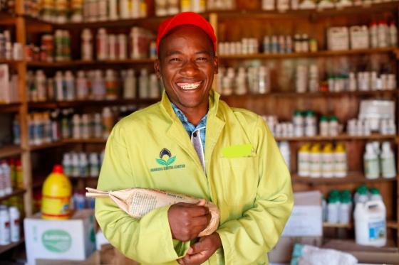 Kenya - Meru - Assistant Jaspat Muriong at Sorghum Pioneer